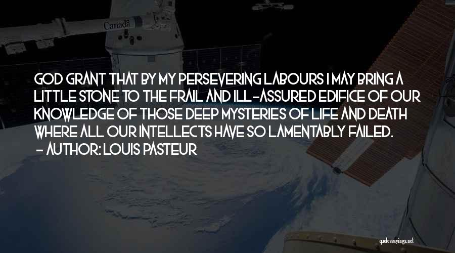 Louis Pasteur Quotes: God Grant That By My Persevering Labours I May Bring A Little Stone To The Frail And Ill-assured Edifice Of