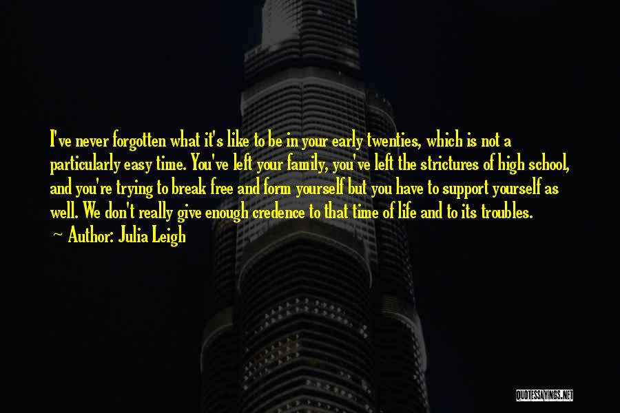 Julia Leigh Quotes: I've Never Forgotten What It's Like To Be In Your Early Twenties, Which Is Not A Particularly Easy Time. You've