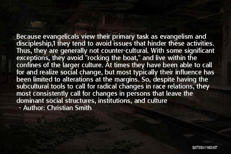 Christian Smith Quotes: Because Evangelicals View Their Primary Task As Evangelism And Discipleship,1 They Tend To Avoid Issues That Hinder These Activities. Thus,