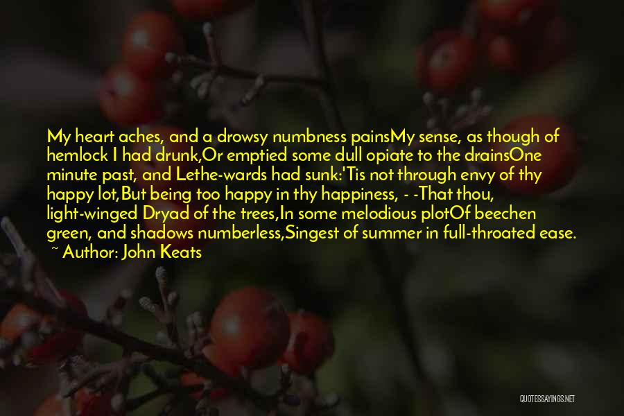 John Keats Quotes: My Heart Aches, And A Drowsy Numbness Painsmy Sense, As Though Of Hemlock I Had Drunk,or Emptied Some Dull Opiate
