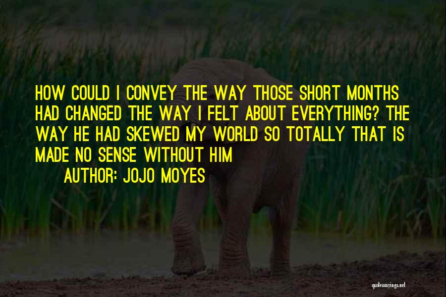 Jojo Moyes Quotes: How Could I Convey The Way Those Short Months Had Changed The Way I Felt About Everything? The Way He