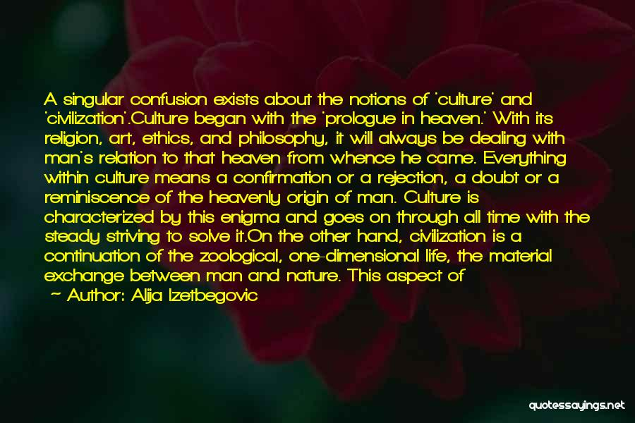 Alija Izetbegovic Quotes: A Singular Confusion Exists About The Notions Of 'culture' And 'civilization'.culture Began With The 'prologue In Heaven.' With Its Religion,