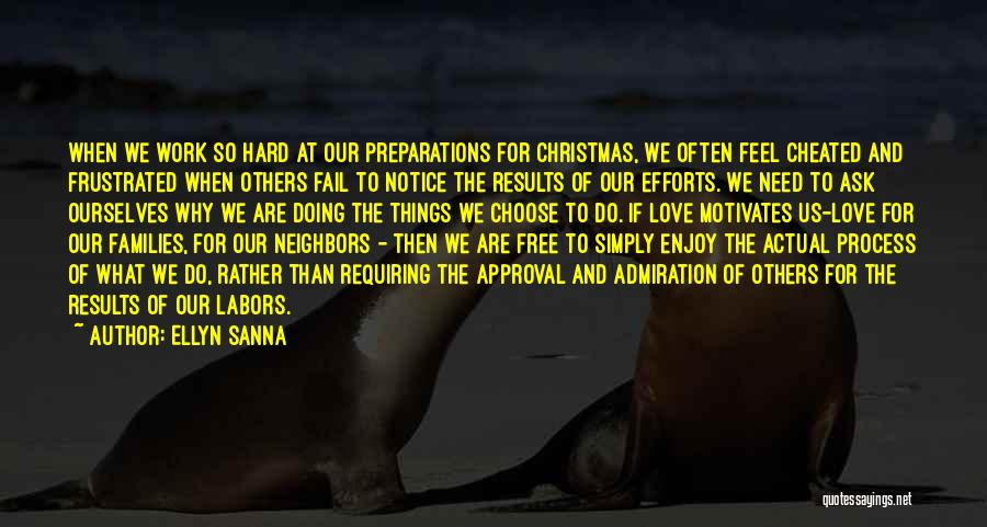 Ellyn Sanna Quotes: When We Work So Hard At Our Preparations For Christmas, We Often Feel Cheated And Frustrated When Others Fail To