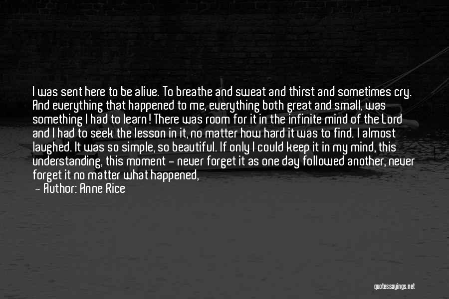 Anne Rice Quotes: I Was Sent Here To Be Alive. To Breathe And Sweat And Thirst And Sometimes Cry. And Everything That Happened