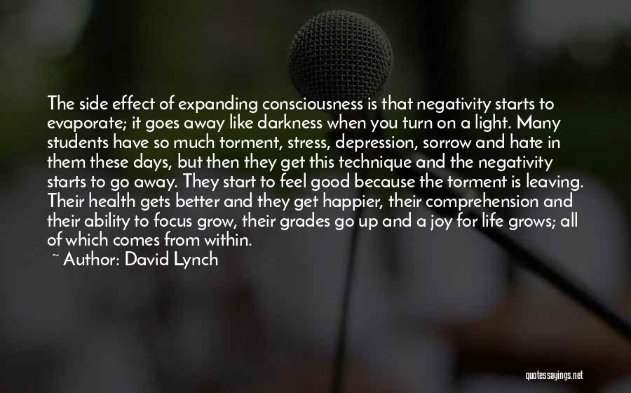 David Lynch Quotes: The Side Effect Of Expanding Consciousness Is That Negativity Starts To Evaporate; It Goes Away Like Darkness When You Turn