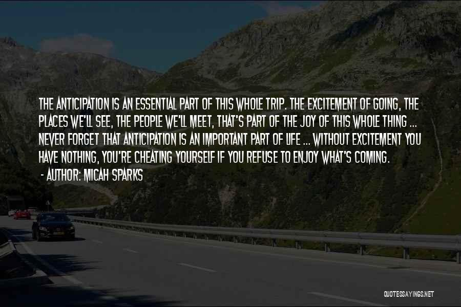 Micah Sparks Quotes: The Anticipation Is An Essential Part Of This Whole Trip. The Excitement Of Going, The Places We'll See, The People