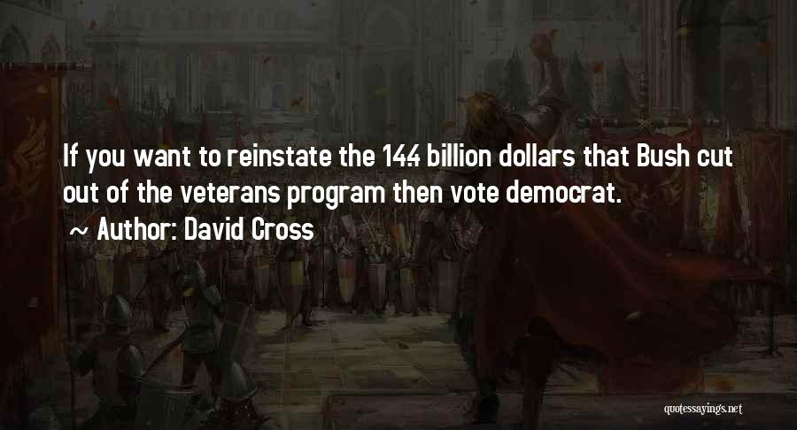 David Cross Quotes: If You Want To Reinstate The 14.4 Billion Dollars That Bush Cut Out Of The Veterans Program Then Vote Democrat.