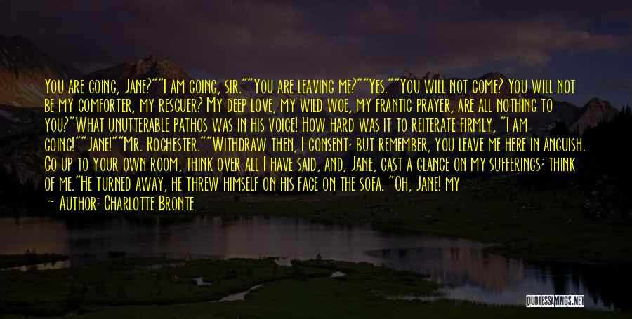 Charlotte Bronte Quotes: You Are Going, Jane?i Am Going, Sir.you Are Leaving Me?yes.you Will Not Come? You Will Not Be My Comforter, My