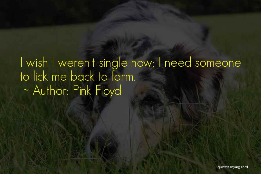 Pink Floyd Quotes: I Wish I Weren't Single Now; I Need Someone To Lick Me Back To Form.