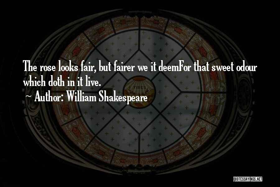 William Shakespeare Quotes: The Rose Looks Fair, But Fairer We It Deemfor That Sweet Odour Which Doth In It Live.