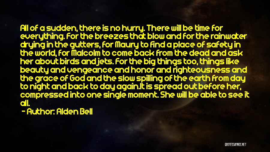 Alden Bell Quotes: All Of A Sudden, There Is No Hurry. There Will Be Time For Everything. For The Breezes That Blow And