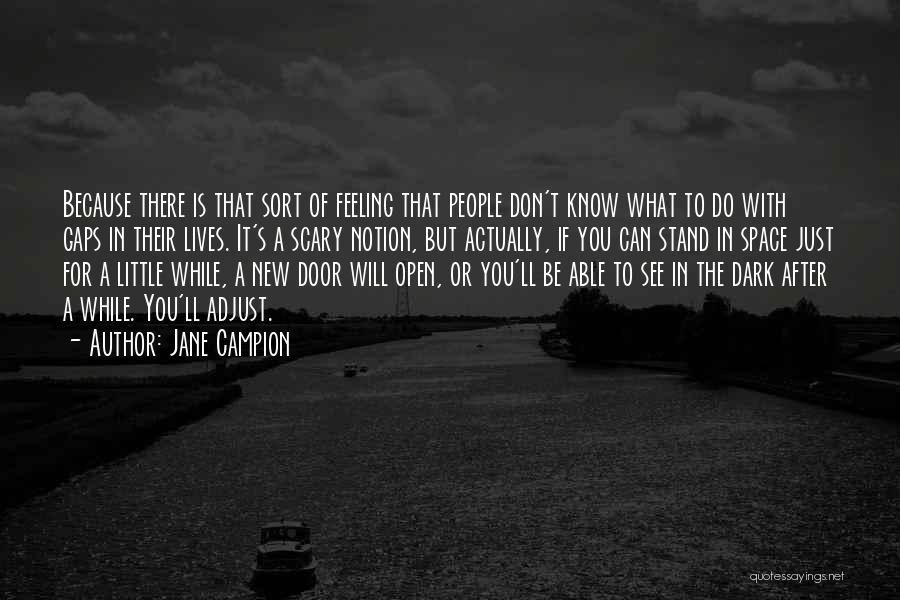 Jane Campion Quotes: Because There Is That Sort Of Feeling That People Don't Know What To Do With Gaps In Their Lives. It's