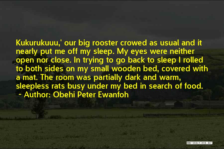 Obehi Peter Ewanfoh Quotes: Kukurukuuu,' Our Big Rooster Crowed As Usual And It Nearly Put Me Off My Sleep. My Eyes Were Neither Open