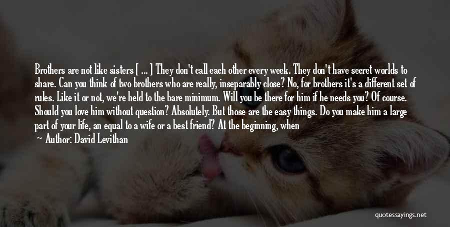 David Levithan Quotes: Brothers Are Not Like Sisters [ ... ] They Don't Call Each Other Every Week. They Don't Have Secret Worlds
