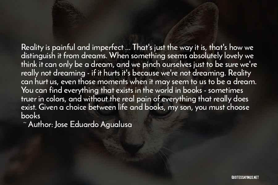 Jose Eduardo Agualusa Quotes: Reality Is Painful And Imperfect ... That's Just The Way It Is, That's How We Distinguish It From Dreams. When