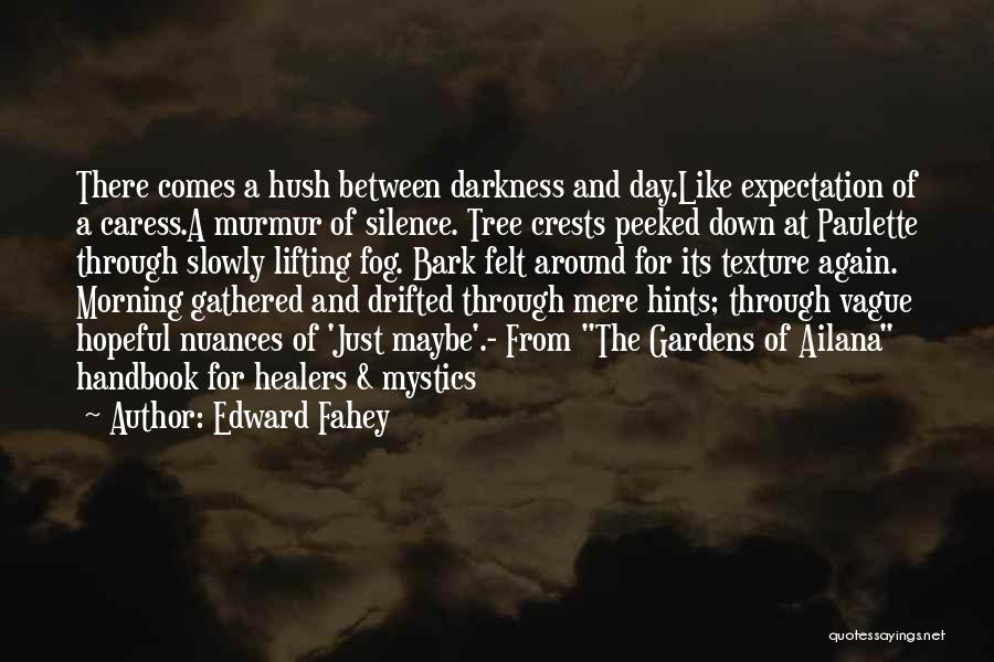 Edward Fahey Quotes: There Comes A Hush Between Darkness And Day.like Expectation Of A Caress.a Murmur Of Silence. Tree Crests Peeked Down At