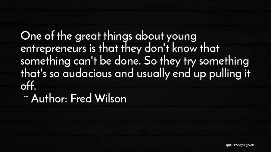 Fred Wilson Quotes: One Of The Great Things About Young Entrepreneurs Is That They Don't Know That Something Can't Be Done. So They