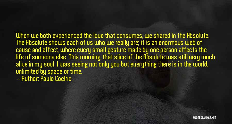 Paulo Coelho Quotes: When We Both Experienced The Love That Consumes, We Shared In The Absolute. The Absolute Shows Each Of Us Who
