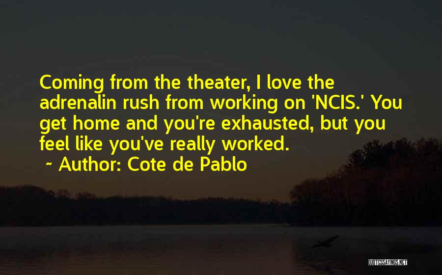 Cote De Pablo Quotes: Coming From The Theater, I Love The Adrenalin Rush From Working On 'ncis.' You Get Home And You're Exhausted, But
