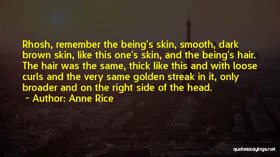Anne Rice Quotes: Rhosh, Remember The Being's Skin, Smooth, Dark Brown Skin, Like This One's Skin, And The Being's Hair. The Hair Was