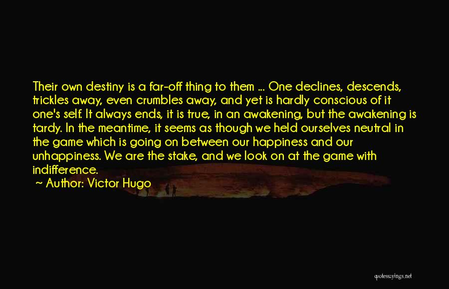 Victor Hugo Quotes: Their Own Destiny Is A Far-off Thing To Them ... One Declines, Descends, Trickles Away, Even Crumbles Away, And Yet