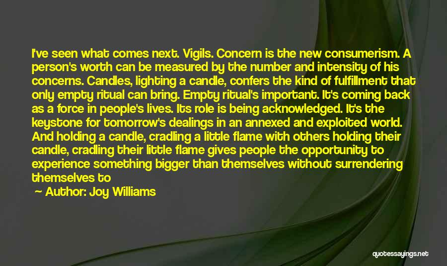 Joy Williams Quotes: I've Seen What Comes Next. Vigils. Concern Is The New Consumerism. A Person's Worth Can Be Measured By The Number