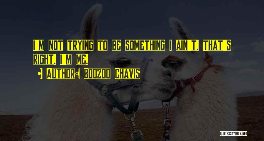 Boozoo Chavis Quotes: I'm Not Trying To Be Something I Ain't. That's Right. I'm Me.