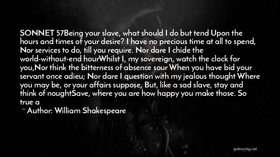 William Shakespeare Quotes: Sonnet 57being Your Slave, What Should I Do But Tend Upon The Hours And Times Of Your Desire? I Have
