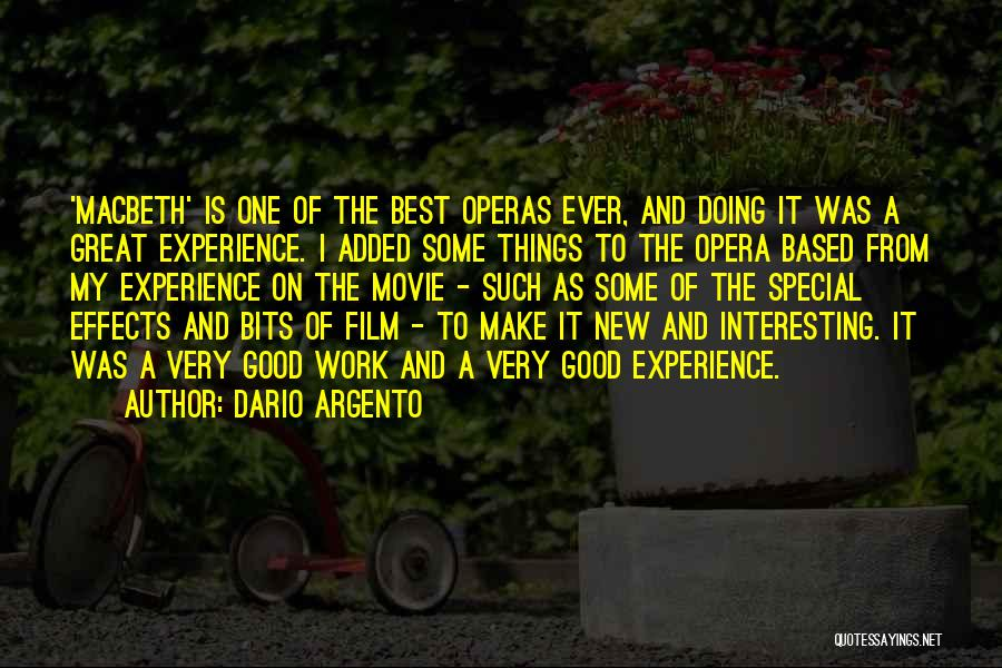 A Good Experience Quotes By Dario Argento