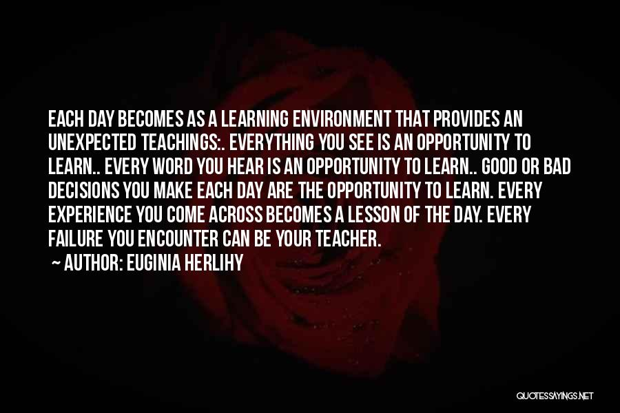 A Good Experience Quotes By Euginia Herlihy