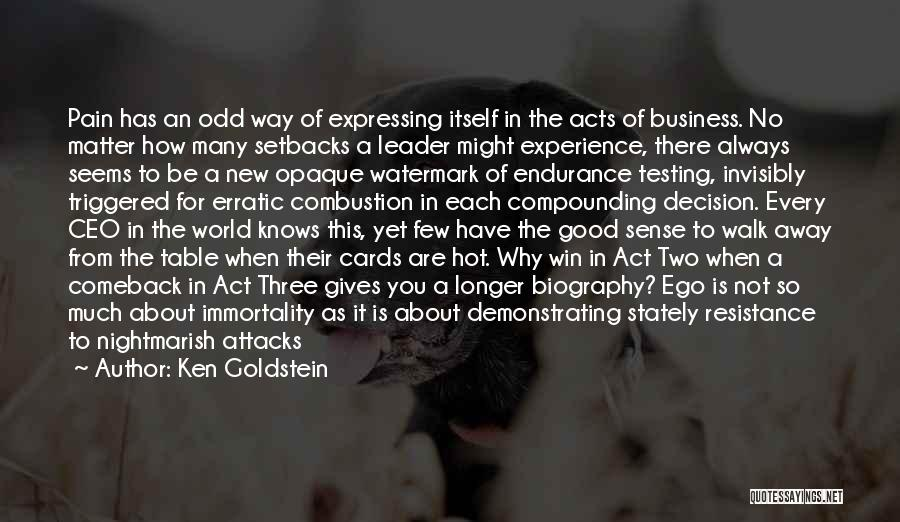 A Good Experience Quotes By Ken Goldstein