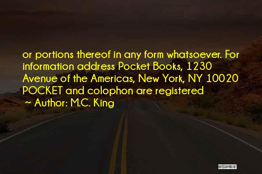 Address Books Quotes By M.C. King