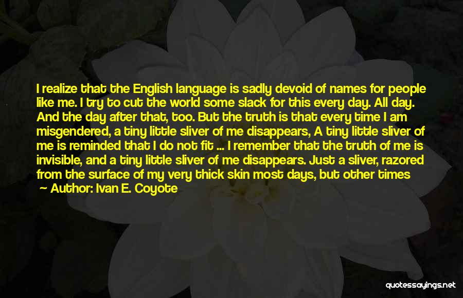 After Some Days Quotes By Ivan E. Coyote