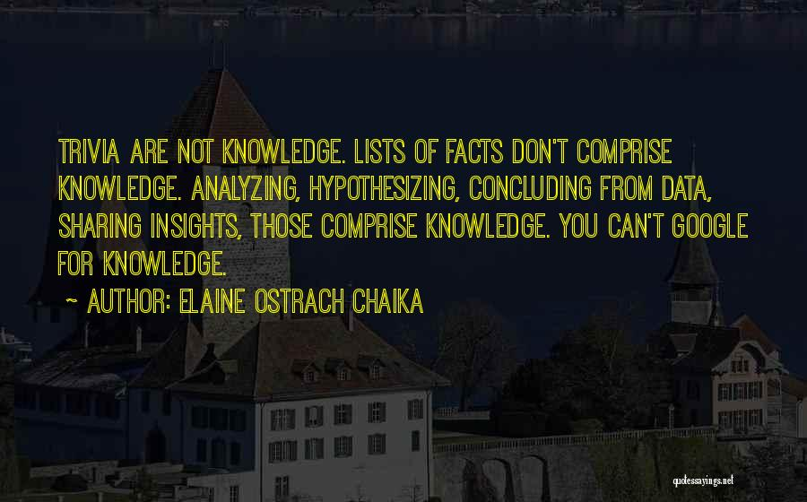 Analyzing Things Quotes By Elaine Ostrach Chaika