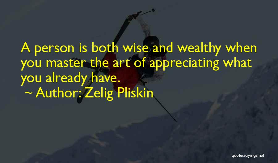 Appreciating What You Have Quotes By Zelig Pliskin