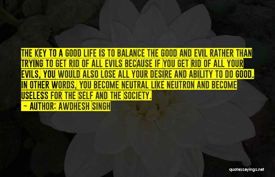 Balance Good And Evil Quotes By Awdhesh Singh