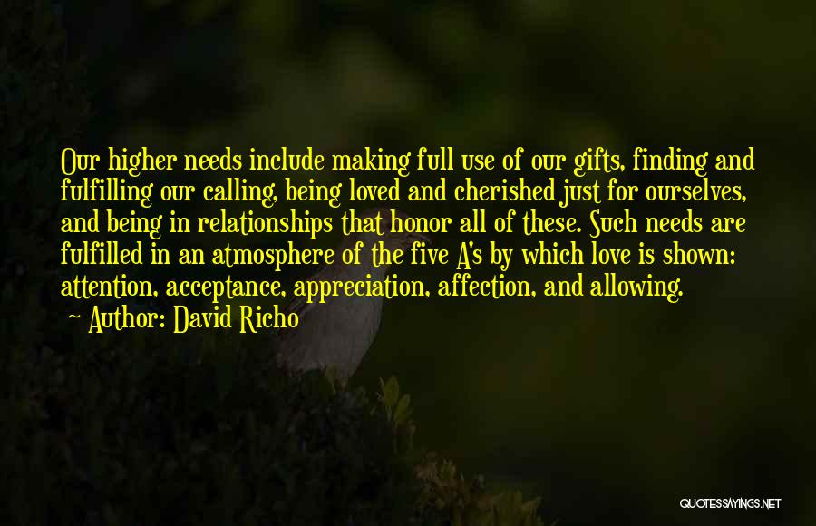 Being Cherished In Love Quotes By David Richo