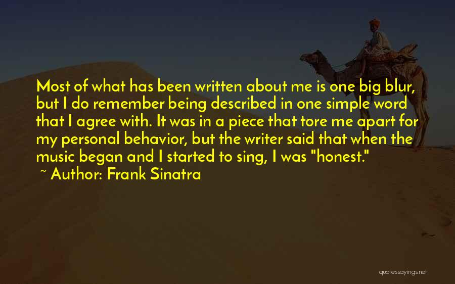 Being Honest Quotes By Frank Sinatra