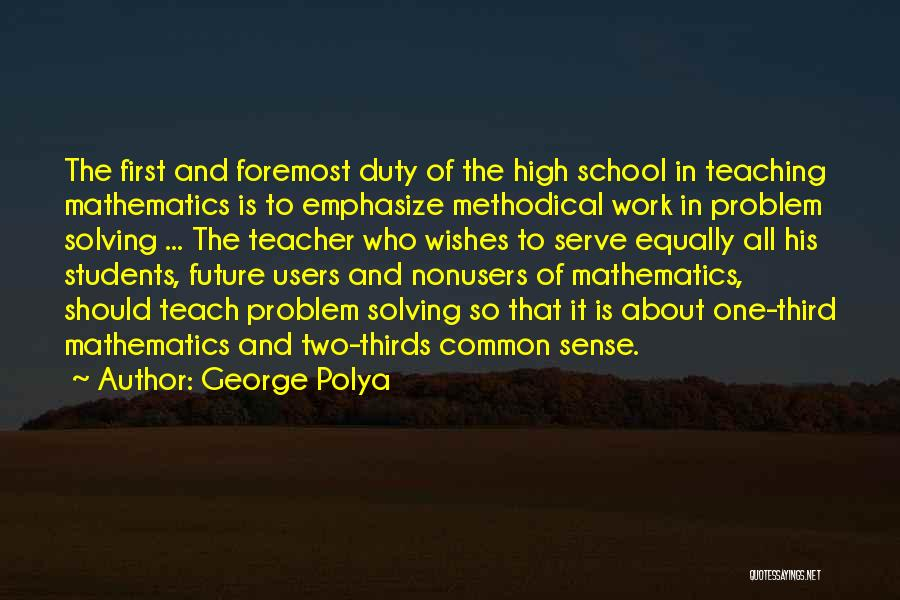 Best Wishes In Your Future Quotes By George Polya