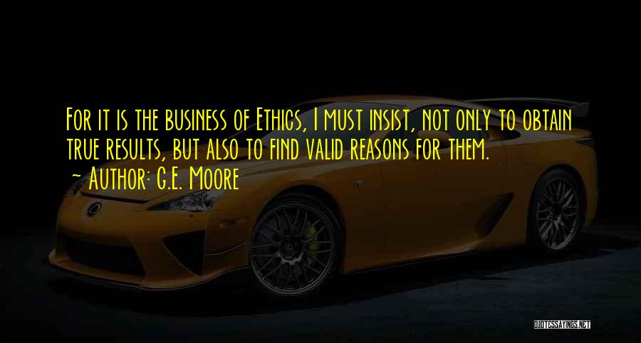 Business Results Quotes By G.E. Moore