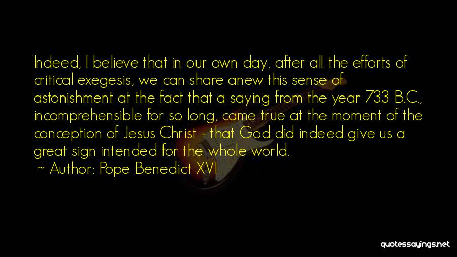 Came Too Far To Give Up Now Quotes By Pope Benedict XVI
