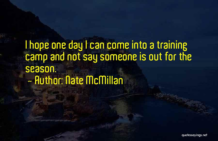 Camp Out Quotes By Nate McMillan