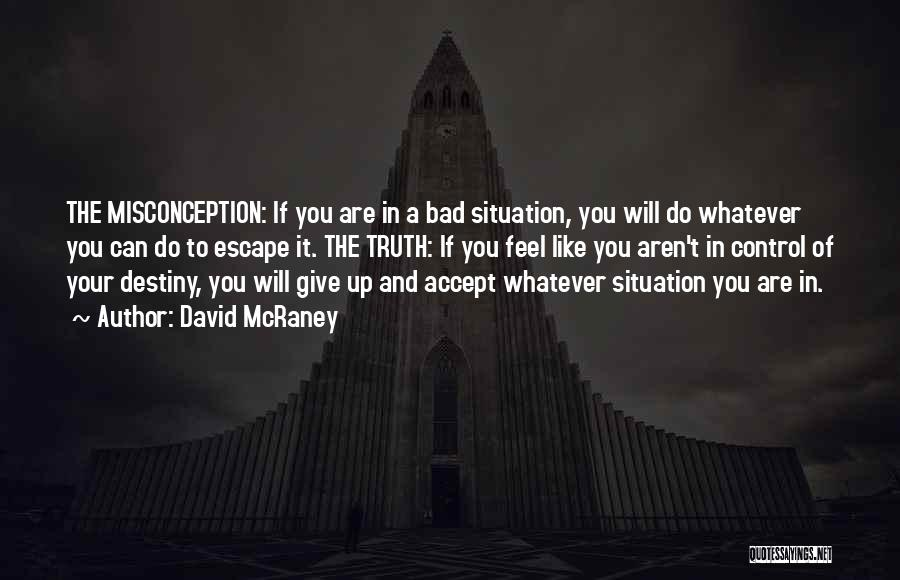 Can't Control The Situation Quotes By David McRaney