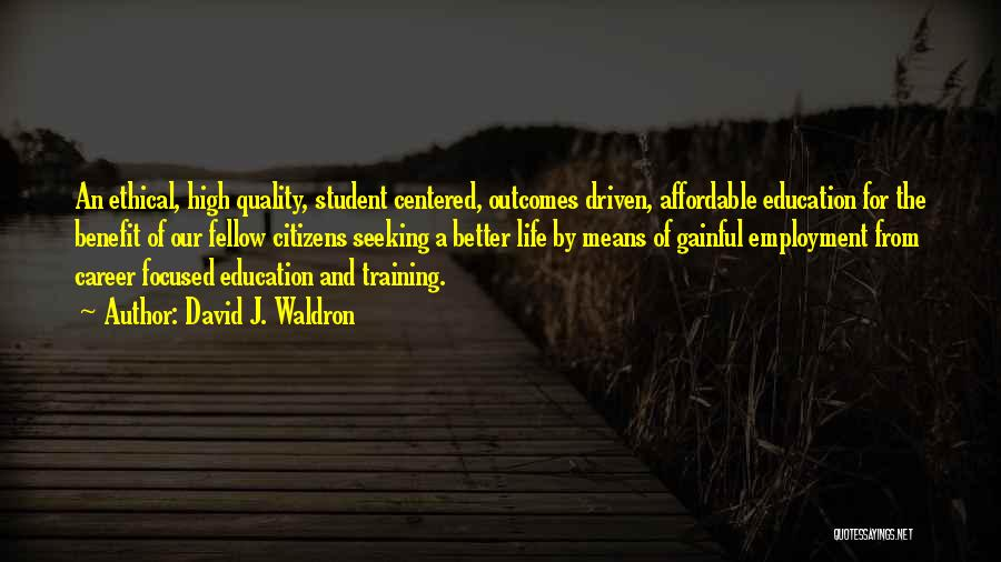 Career And Education Quotes By David J. Waldron