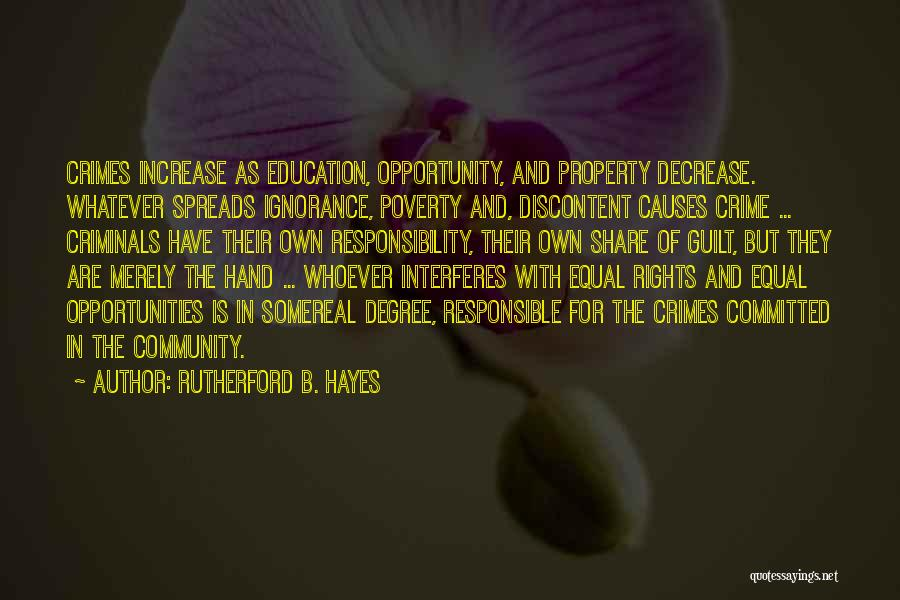 Causes Of Crime Quotes By Rutherford B. Hayes