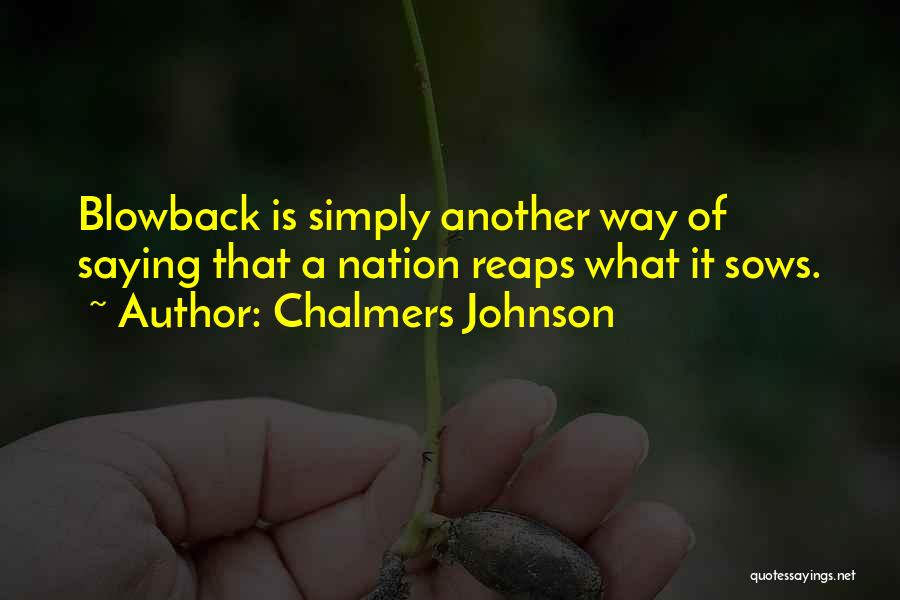 Chalmers Johnson Blowback Quotes By Chalmers Johnson
