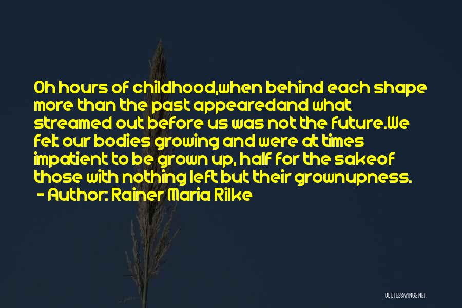 Childhood Growing Up Quotes By Rainer Maria Rilke