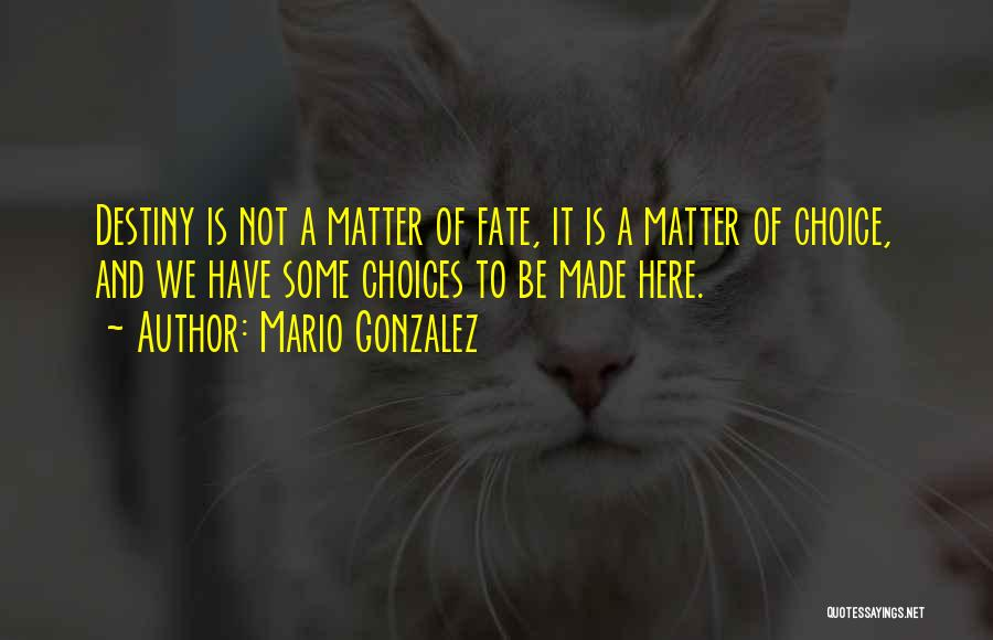 Choice Vs Fate Quotes By Mario Gonzalez