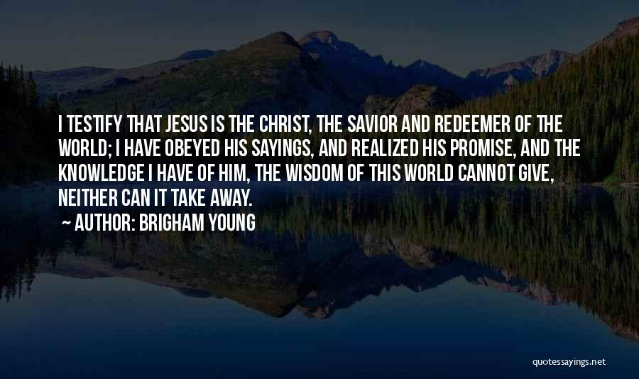 Christ The Redeemer Quotes By Brigham Young