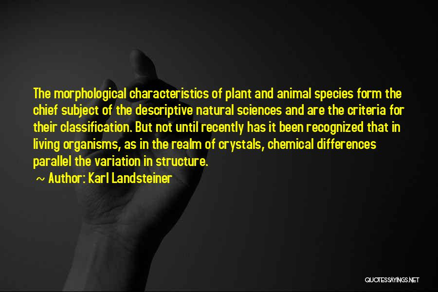 Classification Quotes By Karl Landsteiner